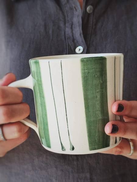 Grønn m Striper - Stort Te Krus