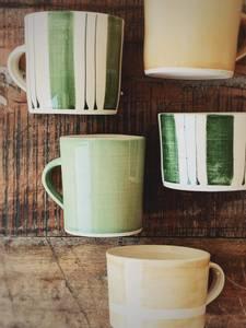 Bilde av Grønn m Striper - Latte Krus