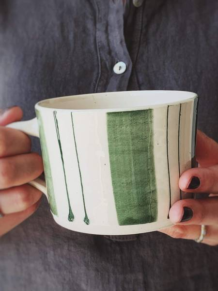 Grønn m Striper - Latte Krus