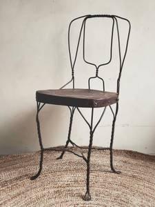 Bilde av Vintage Brun Metall Stol No.2